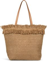 styleBREAKER Damen Korb Flecht Schultertasche, Strandtasche mit langen Henkeln, Flechttasche, Reißverschluss, Shopper 02012348 – Bild 1
