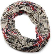 styleBREAKER Union Jack Loop Schlauchschal im Zeitungsdruck, Newspaper Stil, leicht und seidig, Unisex 01016078 – Bild 3