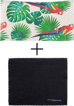 styleBREAKER Etui für Sonnenbrillen mit Papagei Palmen Print und Putztuch, Brillenetui mit Schnappverschluss, Unisex 09020113 – Bild 14