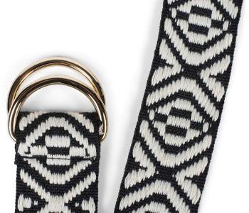 styleBREAKER Damen Stoff Gürtel mit Azteken Ornament Muster und D-Ringen, Einheitsgröße / Onesize, Taillengürtel 03010113 – Bild 2