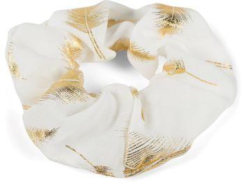 styleBREAKER Damen XXL Haargummi mit edlem metallic Feder Print, elastisch, Scrunchie, Zopfgummi, Haarband 04027020 – Bild 12