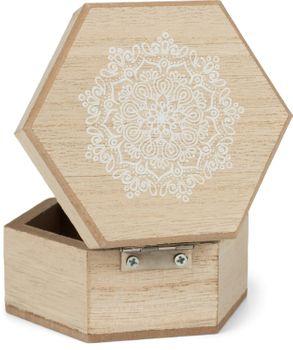 styleBREAKER 6-Eckige Holz Schmuckschatulle mit Mandala Blumen Aufdruck für Schmuck, Anhänger, Ketten, Geschenkbox 05050097 – Bild 4