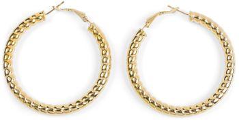 styleBREAKER Damen Creolen Ohrringe in Seil Optik, Klappbügel Verschluss, Runde Ohrhänger, Ohrschmuck 05090025
