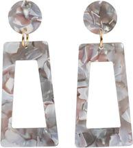 styleBREAKER Damen Statement Ohrringe in Trapezform mit marmorierter Oberfläche mit Stecker, Ohrhänger, Ohrschmuck 05090026 – Bild 4