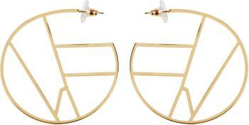 styleBREAKER Damen Creolen Ohrringe halbrund mit geometrischer Einteilung, Stecker, Runde Ohrhänger, Ohrschmuck 05090027 – Bild 1