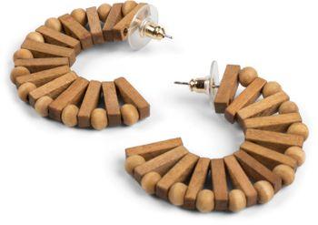 styleBREAKER Damen Creolen Ohrringe halbrund mit Holz Perlen und Stäbchen, Stecker, Runde Ohrhänger, Ohrschmuck 05090029
