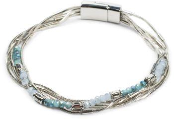 styleBREAKER Damen Armband mit feinen Schlangenketten und Kunststoff Perlen, Magnetverschluss, Armschmuck, Schmuck 05040179 – Bild 22