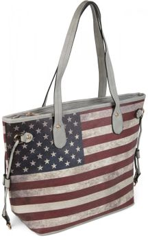 styleBREAKER designer handbag vintage USA stars and stripes design, tote bag, shoulder bag 02012003 – Bild 3