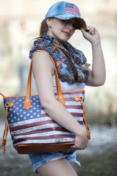 styleBREAKER designer handbag vintage USA stars and stripes design, tote bag, shoulder bag 02012003 – Bild 10