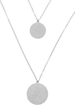 styleBREAKER Damen Edelstahl Layer Halskette 2-reihig mit glitzernden Medaillons, Ankerkette, Kette, Schmuck 05030065 – Bild 5