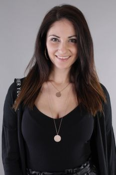 styleBREAKER Damen Edelstahl Layer Halskette 2-reihig mit glitzernden Medaillons, Ankerkette, Kette, Schmuck 05030065 – Bild 10