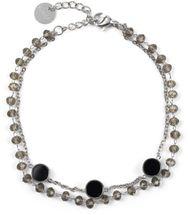 styleBREAKER Damen Edelstahl 2-reihige Layer Armkette mit Kunststoff Perlen und runden Anhängern, Ankerkette, Schmuck 05040186 – Bild 21