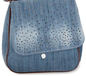 styleBREAKER Jeans Umhängetasche mit Strass Applikationen, Handtasche 02012004 – Bild 9