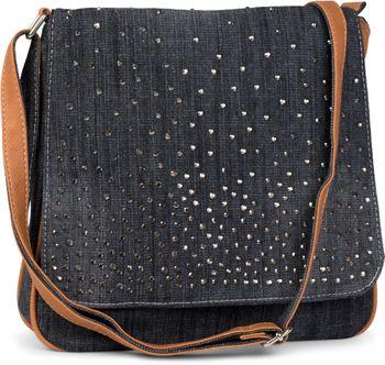 styleBREAKER jeans shoulder bag with rhinestone appliqué, hand bag 02012004 – Bild 1