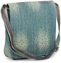 styleBREAKER Jeans Umhängetasche mit Strass Applikationen, Handtasche 02012004 – Bild 21