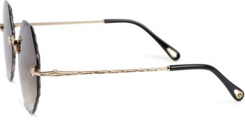 styleBREAKER Damen Runde Sonnenbrille Rahmenlos mit getönten Gläsern im Diamant Schliff, Geprägte Bügel, Vieleckige Gläser 09020118