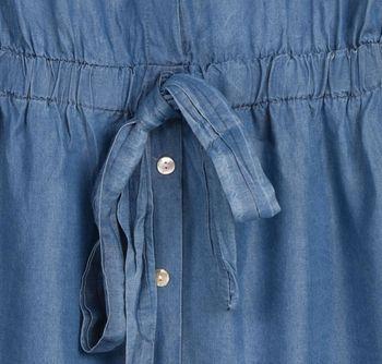styleBREAKER Damen Minikleid in Jeans Optik kurzärmlig, Blusenkragen und Knopfleiste, Tunika, Blusenkleid, Kleid 08010071