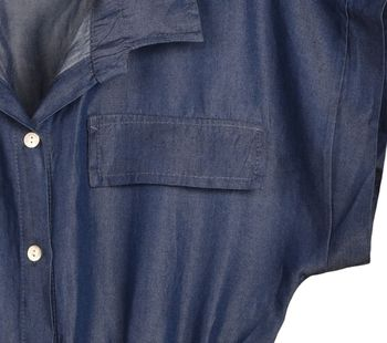 styleBREAKER Damen Minikleid in Jeans Optik kurzärmlig, Blusenkragen und Knopfleiste, Tunika, Blusenkleid, Kleid 08010071 – Bild 5