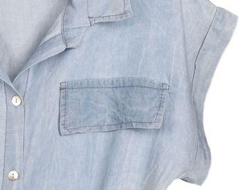 styleBREAKER Damen Minikleid in Jeans Optik kurzärmlig, Blusenkragen und Knopfleiste, Tunika, Blusenkleid, Kleid 08010071 – Bild 8