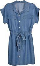 styleBREAKER Damen Minikleid in Jeans Optik kurzärmlig, Blusenkragen und Knopfleiste, Tunika, Blusenkleid, Kleid 08010071 – Bild 1