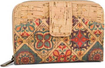 styleBREAKER Damen Geldbörse aus Kork mit buntem Ethno Ornamente Muster Print, Druckknopf, Reißverschluss, Portemonnaie 02040146 – Bild 13