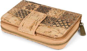 styleBREAKER Damen Geldbörse aus Kork mit buntem Ethno Ornamente Muster Print, Druckknopf, Reißverschluss, Portemonnaie 02040146 – Bild 6