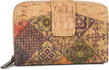 styleBREAKER Damen Geldbörse aus Kork mit buntem Ethno Ornamente Muster Print, Druckknopf, Reißverschluss, Portemonnaie 02040146 – Bild 21