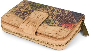 styleBREAKER Damen Geldbörse aus Kork mit buntem Ethno Ornamente Muster Print, Druckknopf, Reißverschluss, Portemonnaie 02040146 – Bild 22