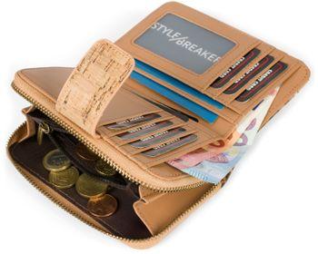 styleBREAKER Damen Geldbörse aus Kork mit buntem Ethno Ornamente Muster Print, Druckknopf, Reißverschluss, Portemonnaie 02040146 – Bild 25