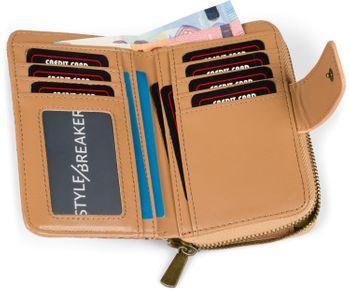 styleBREAKER Damen Geldbörse aus Kork mit buntem Ethno Ornamente Muster Print, Druckknopf, Reißverschluss, Portemonnaie 02040146 – Bild 26