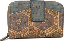 styleBREAKER Damen Geldbörse aus Kork mit buntem Ethno Ornamente Muster Print, Druckknopf, Reißverschluss, Portemonnaie 02040146 – Bild 1