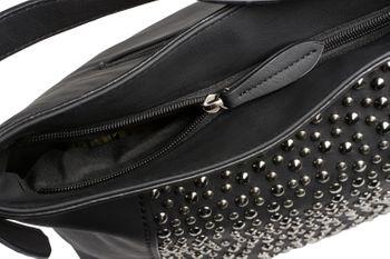 styleBREAKER Damen Hobo Bag Handtasche aus Kunstleder mit Nieten Applikation, Shopper, Schultertasche, Tasche 02012358 – Bild 9