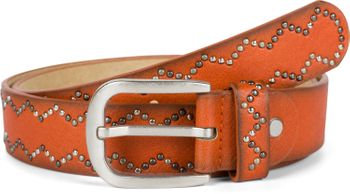 styleBREAKER Damen Nietengürtel Unifarben mit kleinen Nieten in Zacken Muster, Gürtel, Synthetikgürtel, kürzbar 03010114