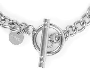 styleBREAKER Damen Edelstahl Armkette mit auffälligem Knebel Verschluss, grober Gliederkette, Schmuck, Chain Optik 05040188
