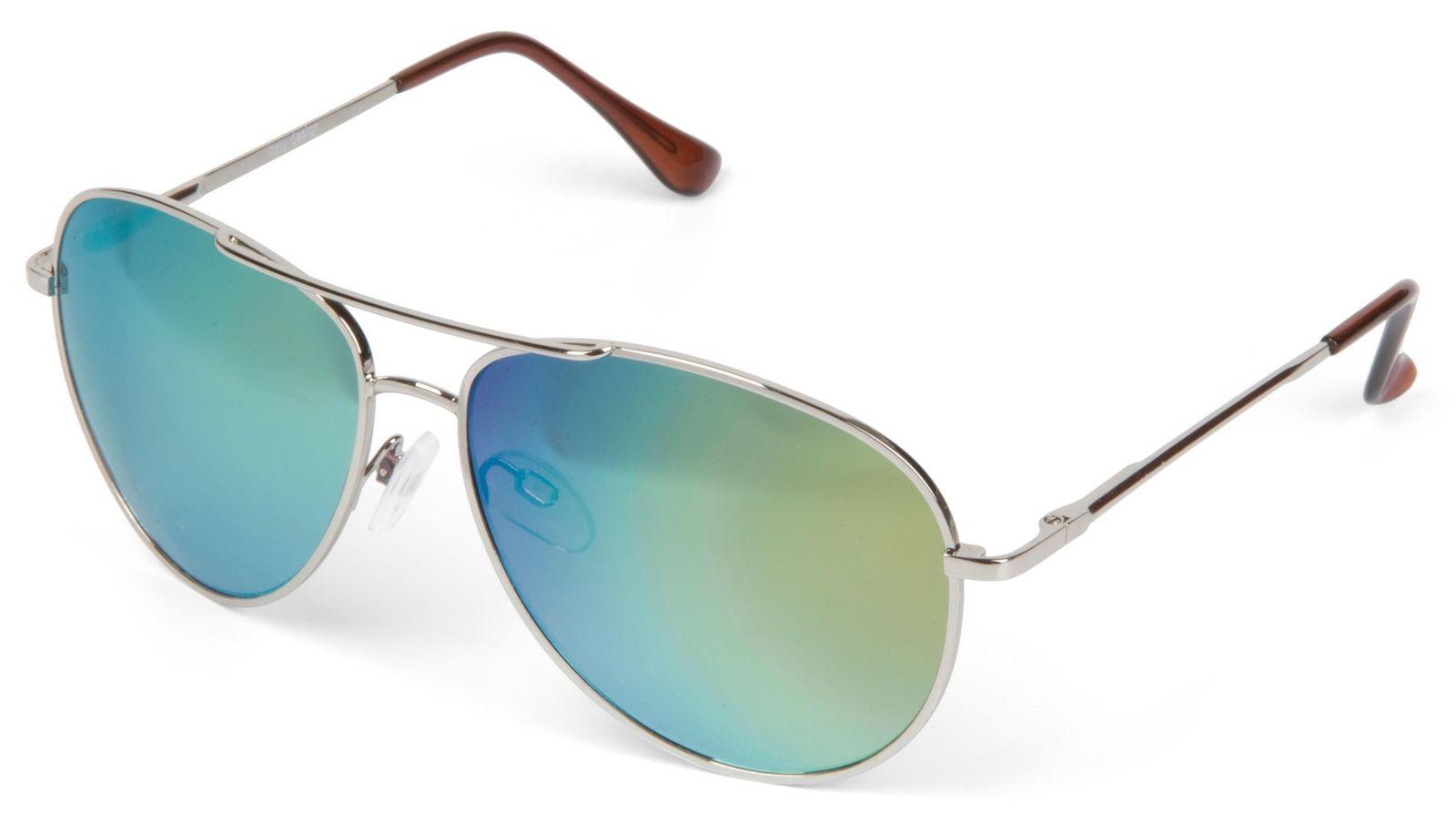 styleBREAKER Sonnenbrille verspiegelt, Aviator Pilotenbrille getönt mit Federscharnier, Unisex 09020037, Farbe:Gestell Silber / Glas Grün, V18