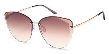 styleBREAKER Damen Cateye Sonnenbrille mit Diamant Schliff, Rahmenlos mit getönten Gläsern, Metallrahmen 09020123