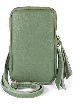 styleBREAKER Damen Leder Handy Umhängetasche mit genarbter Oberfläche, Reißverschluss, Echtleder Mini Bag 02012374