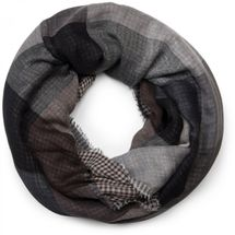 styleBREAKER plaid pattern loop tube scarf with fringe, Unisex 01018037 – Bild 1
