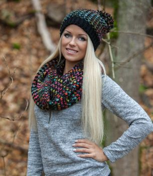 styleBREAKER scarf and hat combo set, colorful chunky knit tube scarf and knitting beanie, unisex 01018201 – Bild 29