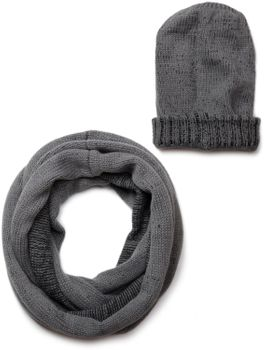 styleBREAKER scarf and hat combo set, unisex knitted loop tube scarf with casual knit slouch beanie hat 01018203 – Bild 1