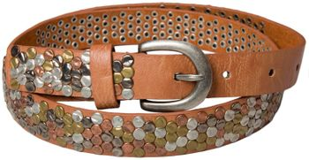 styleBREAKER studded belt with multi-colored rivets in vintage style with genuine leather, shortened, narrow 03010012 – Bild 6