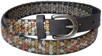 styleBREAKER studded belt with multi-colored rivets in vintage style with genuine leather, shortened, narrow 03010012 – Bild 2