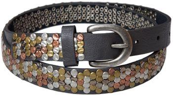 styleBREAKER Nietengürtel mit mehrfarbigen Nieten im Vintage Style , kürzbar, schmal 03010012 – Bild 2