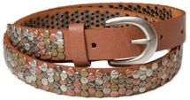 styleBREAKER studded belt with multi-colored rivets in vintage style with genuine leather, shortened, narrow 03010012 – Bild 5