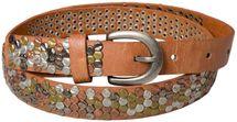styleBREAKER Nietengürtel mit mehrfarbigen Nieten im Vintage Style , kürzbar, schmal 03010012 – Bild 6