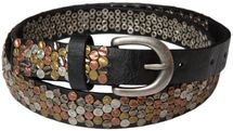 styleBREAKER studded belt with multi-colored rivets in vintage style with genuine leather, shortened, narrow 03010012 – Bild 1