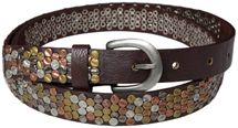 styleBREAKER studded belt with multi-colored rivets in vintage style with genuine leather, shortened, narrow 03010012 – Bild 4