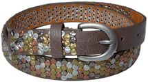 styleBREAKER studded belt with multi-colored rivets in vintage style with genuine leather, shortened, narrow 03010012 – Bild 3