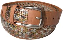 styleBREAKER studded belt with multi-colored rivets in vintage style with genuine leather, shortened, broad 03010013 – Bild 2