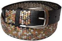 styleBREAKER studded belt with multi-colored rivets in vintage style with genuine leather, shortened, broad 03010013 – Bild 3